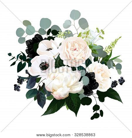 Black Plants And Creamy Flowers Glamour Vector Design Bouquet. Anemone, Ranunculus, Rose, Peony, Ber