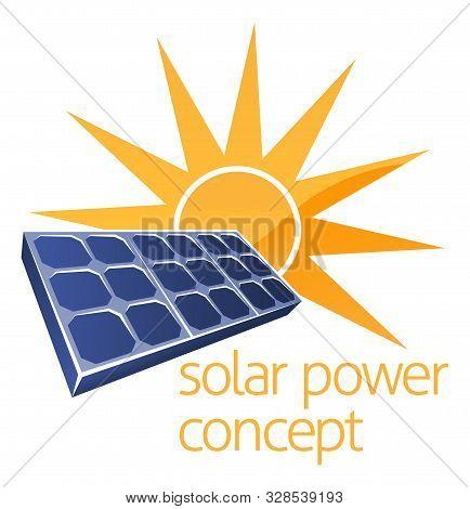 A Concept Icon Of Sun And Solar Panel Photovoltaics Cell