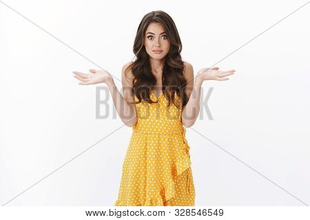 Clueless Unaware Gorgeous Woman In Summer Dress Not Know Where Travel Summer Holidays, Asking Advice