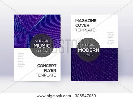 Modern Cover Design Template Set. Neon Abstract Lines On Dark Blue Background. Exceptional Cover Des