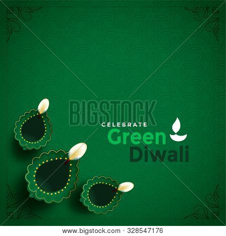 Stylish Green Diwali Concept Beautiful Background Vector