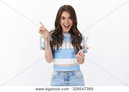 Cheerful Charismatic Attractive Caucasian Woman Smiling Joyful, Introduce Awesome Copy Space Promo,