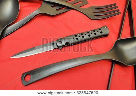 Folding Knife Stainless Steel Sharp Blade Red Background Black Flatware