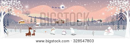 Panorama Of Winter Landscape At Night,vector Of Winter Wonderland At Countryside With Snowing, Rein