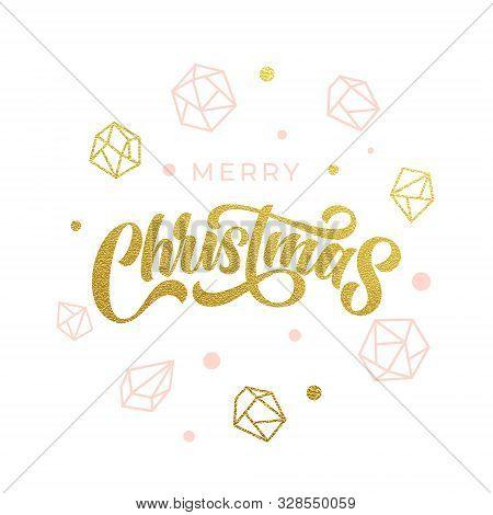 Merry Christmas Gold Glitter Gilding Geometric Gem Crystal Ornaments Decoration. Christmas Greeting