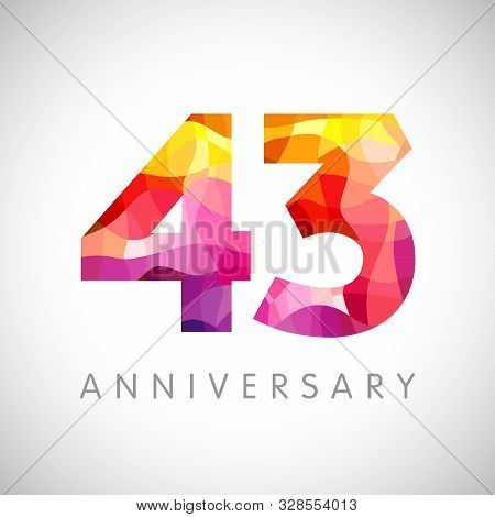 43 Rd Anniversary Numbers. 43 Years Old Multicolored Logotype. Age Congrats, Congratulation 3d Idea.