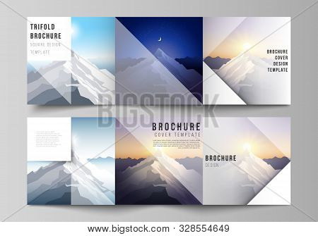Minimal Vector Editable Layout Of Square Format Covers Design Templates For Trifold Brochure, Flyer,