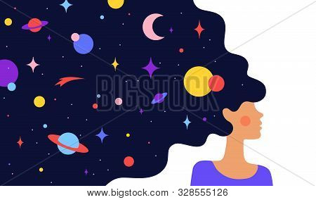 Woman With Dream Universe. Simple Character Of Woman