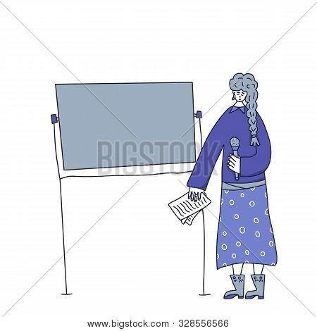 Speaker Character Affording A Presentation. Young Woman Standing At The Board With Microphone And Gi