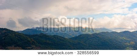 Wonderful Mountainous Panorama In Autumn. Gorgeous Cloudscape Over The Mountainwonderful Mountainous