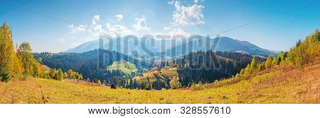 Panorama Of Borzhava Mountain Ridge. Beautiful Autumn Landscape Of Carpathians. Calm Sunny Weather W