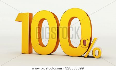 3d Rendering Of A Gold Sale 100%, Golden Percent Off Discount Sign, Sale Promo, Special Offer 100% O