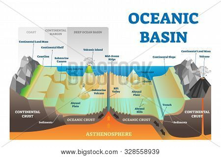 Ocean Basin Structure Vector Illustration. Labeled Geography Educational Underwater Level Scheme Wit