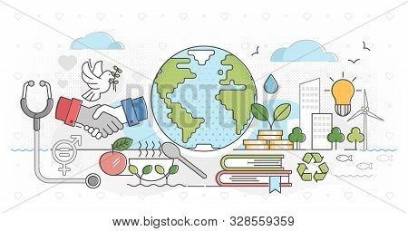 Sustainable Nature Friendly Development Outline Concept Vector Illustration. Symbolic Visualization