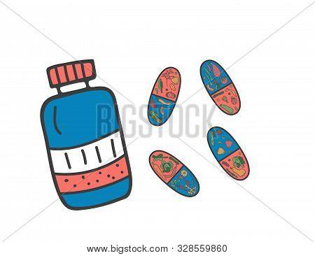 Vitamine Pills Concept With Veg. Vector Illustration.