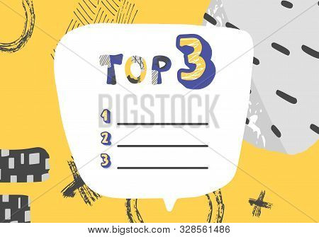 Top 3 Template. Vector Blank Illustration With Collage Design.