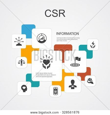Csr Infographic 10 Line Icons Template. Responsibility, Sustainability, Ethics, Goal Simple Icons