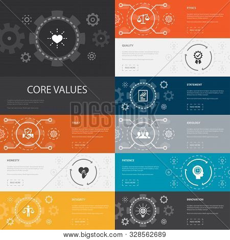 Core Values Infographic 10 Line Icons Banners.trust, Honesty, Ethics, Integrity Simple Icons