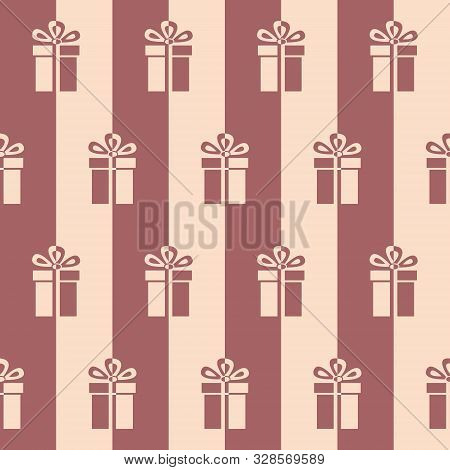 Presents. Seamless Vector Illustration With Gift Boxes And Bows In Two Colors