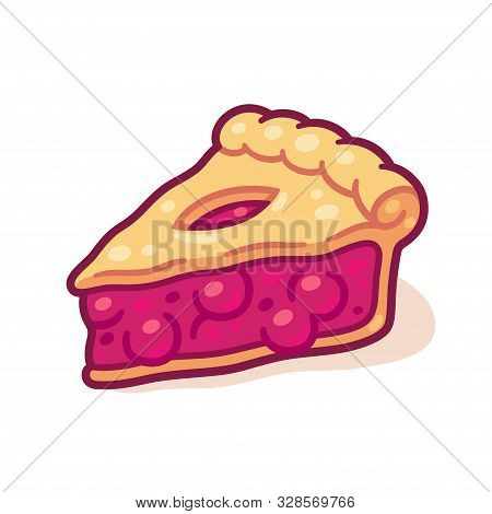 Cute Cartoon Cherry Pie Drawing. Hand Drawn Slice Of Traditional Fruit Pie. Isolated Vector Illustra