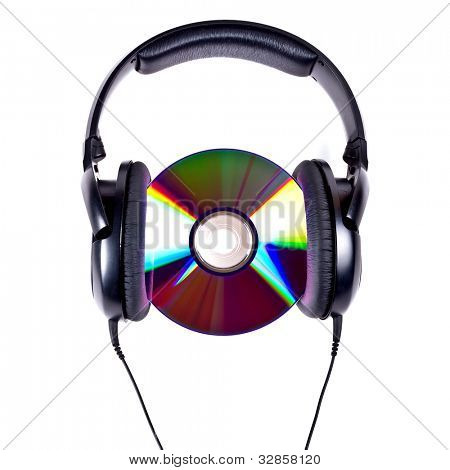Music concept with Hi-Fi headphones and CD disc
