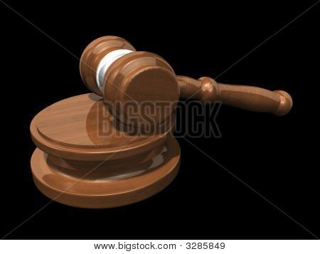3D Gavel On Black Background