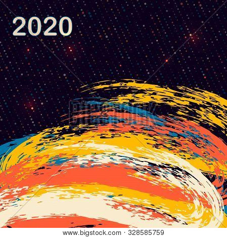 Happy New Year 2020. Vector Holiday Illustration. Multicolored Waves Imitating A Brush. Geometric Ba