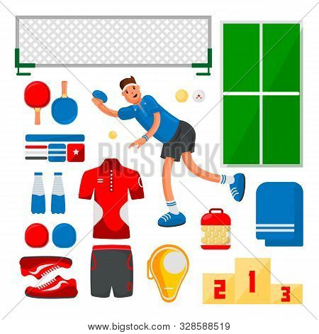 Table Tennis Sportsman Games Icon Set. Flat Design Ping Pong Athlete. Ping Pong Eyuipment Set For Co