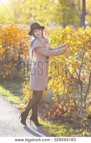 Autumn Portrait Of A Beautiful Girl In A Hat. A Pretty Woman Of 30-35 Years Old With Beautiful Smile