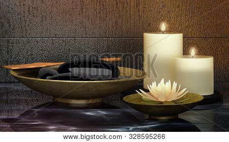 Spa Concept: Composition Of Spa Treatment With  Spa  Stone  On Wooden Background. Day Spa Cosmetics