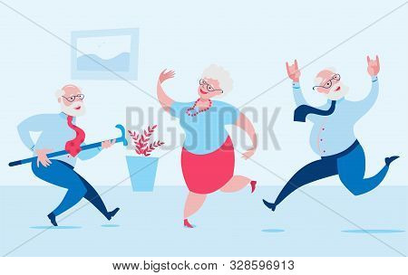 Elderly Men And A Woman Are Dancing Merrily. Vector Illustration In A Flat Style On The Theme Of Act