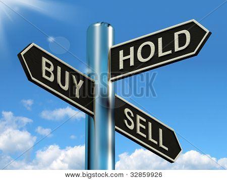 구매 보류 및 판매 푯 말 주식 전략 대표