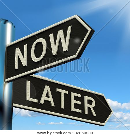 Now Or Later Signpost Showing Delay Deadlines And Urgency