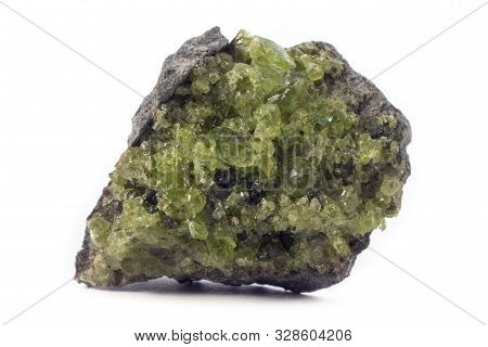 Rock With Peridot Olivine Mineral From The Usa Isolated On A Pure White Background