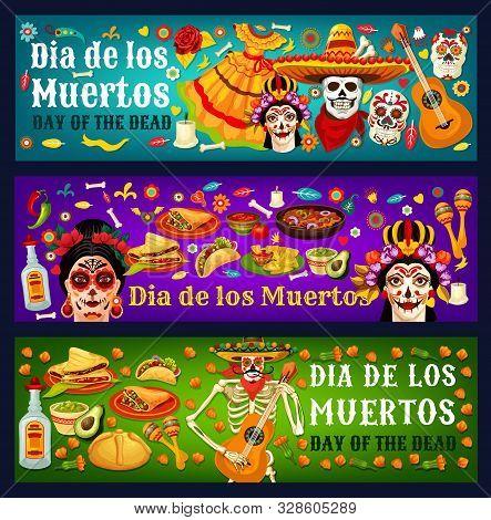 Dia De Los Muertos Sugar Skulls, Catrina And Marigold Flowers, Mexican Day Of The Dead Vector Design