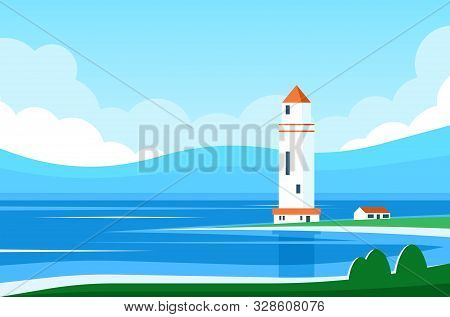 A Lighthouse Stands On The Seashore Amid A Blue Landscape