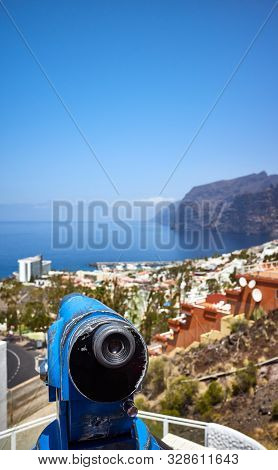 Monocular Telescope Pointing At Horizon, Tenerife.