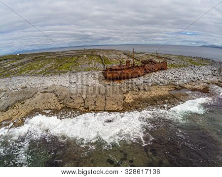 Aerial View Of  Wrecked Boat  In Inisheer Island