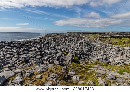 Rocky Beach And Farms In Inisheer Island