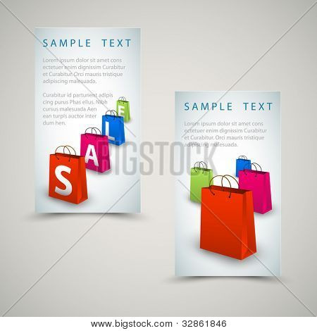 Vector sale banners with colorful paper shopping bags