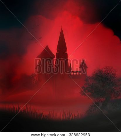 Abstract Landscape With Old Castle In Dark Night , Raster