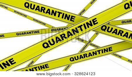 Quarantine. Yellow Warning Tapes With Black Words Quarantine. Isolated. 3d Illustration
