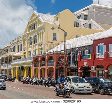 Hamilton, Bermuda - July 12, 2017: Bermuda Has A Blend Of British And American Culture, Which Can Be
