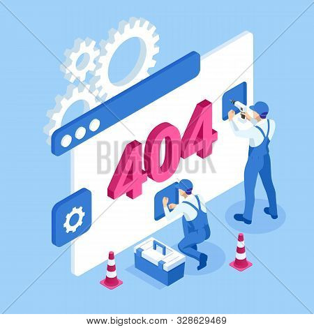 Isometric Error 404 Page Layout Vector Design. The Page You Requested Could Not Be Found. Website 40