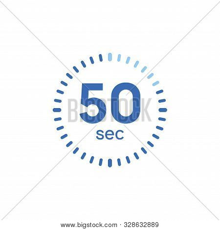 50 Second Timer Clock. 50 Sec Stopwatch Icon Countdown Time Digital Stop Chronometer
