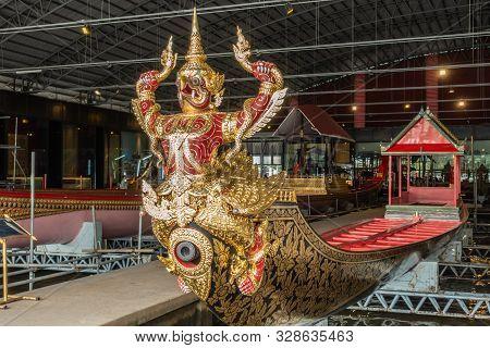 Bangkok City, Thailand - March 17, 2019: Royal Barge National Museum. Royal Krut Hern Het Barge With
