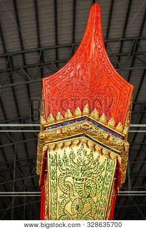 Bangkok City, Thailand - March 17, 2019: Royal Barge National Museum. Closeup Of Red And Golden Top