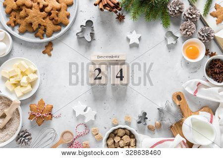 Christmas Or X-mas Baking Culinary Background, Cooking Recipe. Xmas, Noel Gingerbread Cookies On Kit