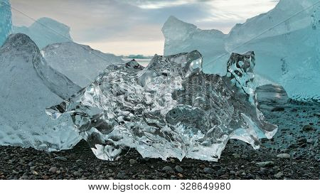 Ice Floe On Diamond Beach In Iceland