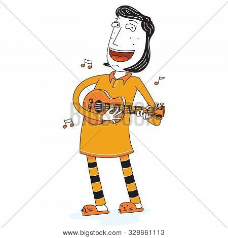 Illustration Of A Happy Girl Singing With Guitar